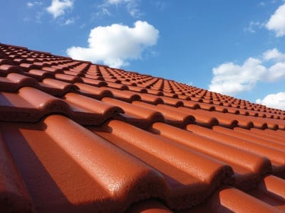 Close up of a orange tiled roof